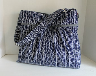 Monterey Diaper Bag - Large - In Navy Herringbone and Grey - Adjustable Strap and Elastic Pockets