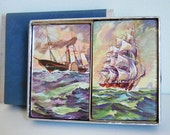 Vintage Double Deck of Playing Cards // Vintage Sailing Ships // NIP Duratone Cards