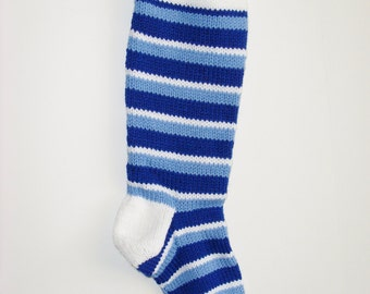 S15 Striped Christmas Stocking - Blues