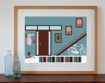 1960s Funky Hallway Interior - Digital Art Print