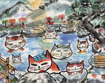 Cat Art Print Hot Springs Cats
