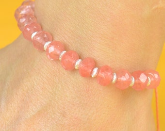 SALE-Cherry quartz and sterling silver  bracelet