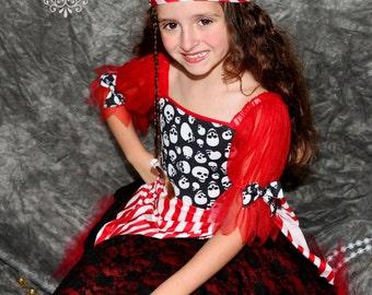 Childrens Halloween Costume Red Pirate skull tutu costume 6