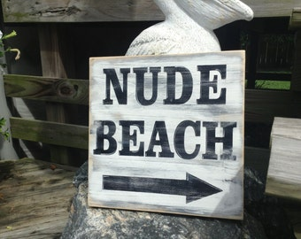 Beach Sign Nude Beach Subway Style Sign Beach Nautical Coastal Decor