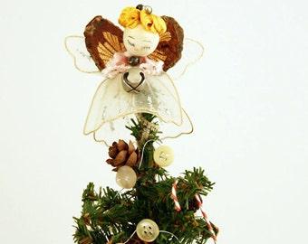 Christmas Gift Box - Christmas Tree - Angel Tree - Handmade OOAK Christmas Decor - Vintage Christmas Decor - Handmade Vintage Christmas