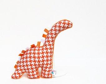 Stuffed Animal Dinosaur Baby Toy Orange Houndstooth Ready to Ship
