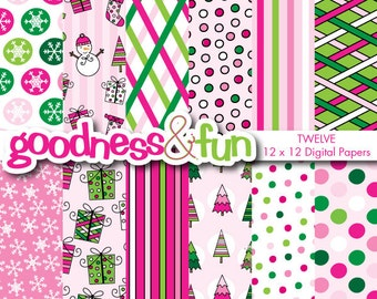 Buy 2, Get 1 FREE - Pink Whimsy Christmas Digital Papers - Digital Christmas Paper Pack - Instant Download