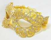 CUSTOM Masquerade Ball Mask - Crystal and Gold - Venetian Mask - Rhinestone Mask - Paper Mache - Masquerade Ball Mask - The Duchess