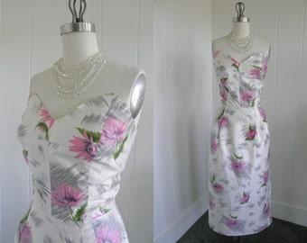 1950's Vintage Hawaiian Tiki Cream Sexy Wiggle Dress with Pink Flowers