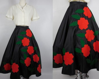 1950 Vintage Holiday Black Circular Taffeta Skirt with Red Felt Poinsettia Flowers