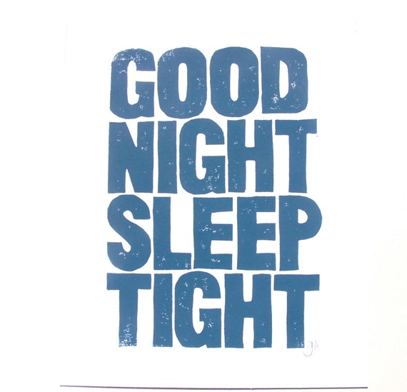 items similar to print good night sleep tight linocut blue grey nursery poster 8x10 on etsy. Black Bedroom Furniture Sets. Home Design Ideas