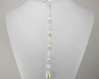 Beaded Necklace Backdrop - Add-On - Ivory Glass Pearl and Aurora Borealis Clear Beads - Custom Colors and Beads Available