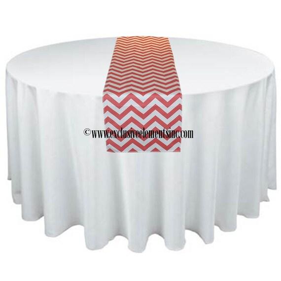 Coral Table Runner Chevron Table Linens Stripe Zig Zag Decoration Wedding Table Centerpiece