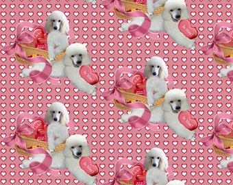Poodle Valentine's day  fabric