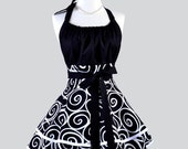 Flirty Chic Apron - Black and White Swirl Ironworks by Michael Miller Ebony and Ivory Two Layer Skirt Cute Flirty Sexy Retro Womens Apron
