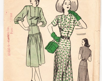 Vintage 1947 Butterick 4247 Sewing Pattern Misses' One-Piece Dress Size 12 Bust 30