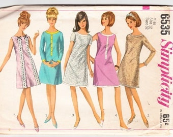 Vintage 1966 Simplicity 6535 Sewing Pattern Misses' One-Piece Dress Size 12 Bust 32