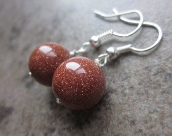 Sparkling Goldstone Orb Earrings. Neutral Brown Shimmering Gemstone Rounds Wrapped in Silver. Modern, Simple Everyday Earrings. For Her