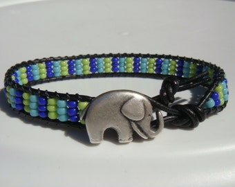 Blue and Green Seed Beaded Leather Bracelet with Elephant Button READY TO SHIP