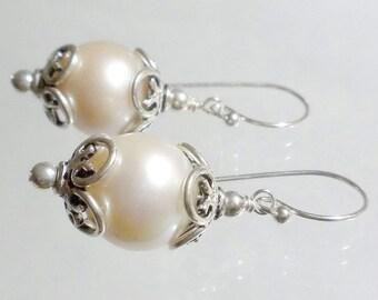 Sterling Silver Pearl Earring, Large Pearl Earrings, Wedding Bridal Pearl Earring