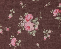Antique Rose  by Lecien  Pink Roses on re brown 30753-80 Cotton Fabric