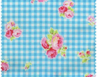 Flower Sugar 2013 by Lecien Blue  Gingham Rose 30748-70 Cotton Fabric