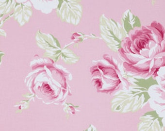 sunshine roses full bloom rose in pink tanya whelan free spirit fabrics  pwtw072pink