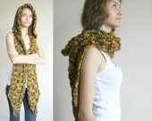Black Mustard Wilds Safari Wool Hooded Cabled  Long Scarf  Cowl  Under USD100