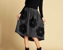 Dark gray wool skirt - womens wool skirt with Applique and hi lo hem (350)
