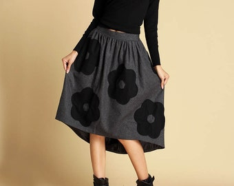 Dark gray skirt, wool skirt, womens skirts with applique and hi lo hem, winter dress, fashion clothing, handmade skirt, fitted skirt (350)
