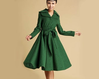Green coat, Wool coat, Winter coat, black friday sale, trench coat, long jacket, Winter Fashion, princess coat, 50s coat, wool jacket  336
