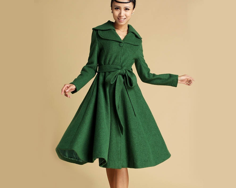 Coat Wool coat Green coat Winter coat trench coat long