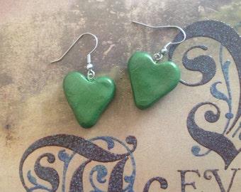 Green Polymer Clay Heart Earrings