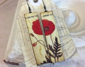 "Poppies ""ArtStik"" Wood Dangle Earrings, Vintage Poppy Flower, Red and Cream, Wearable Art"