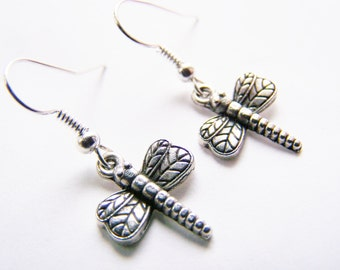 Magical Dragonflies - FREE Shipping with another - petite silvertone earrings - affordable gifts treasures - weddings - sale - spring summer