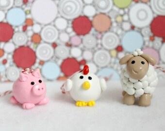Handmade Barnyard Animal Ornament Set, Set of 3 Polymer Clay Animal Ornaments