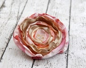 Beautiful Flower Brooch --- Spring Pink Fabric Rose Pin --- TAGT Team