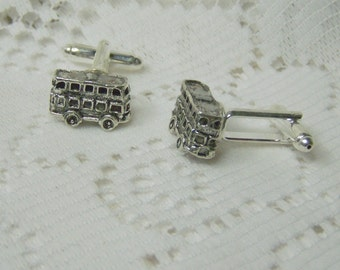 Double Decker Bus Cuff Links - London Double Decker Bus cufflinks - Retro - Novelty Cuff links - Silver - Men's jewelry - British Cuff Links