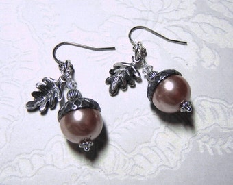 Acorn Earrings  - Almond Pearls and Oak Leaves - Wedding - Bridesmaids Gift