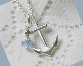 ANCHOR Necklace - Silver - Aqua Crystal - Large Dimensional Pendant