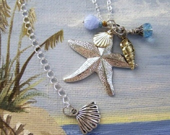 Silver Starfish Sea Star Necklace with Charms