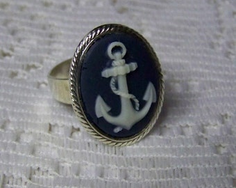 ANCHOR Cameo Ring - SILVER Adjustable Navy and White - Rope - Adjustable Ring