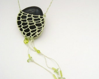Necklace Rustic Stone Celery Green, Minimalist, Simple, Natural Jewelry, black, ST6