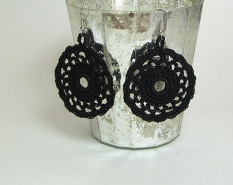 Black Lace Dangle Earrings Crochet Doily Circle Jewelry Fiber Art
