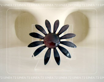 Large Mod Enameled Flower Brooch
