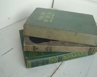 Vintage Green Books Toilers Sea Keeping Fit Famous Men