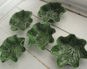 Vintage Leaf Green Bowl Pat Young Set of 5
