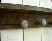 Railroad Spike Coat Rack - Rustic Shabby Cottage - Wall Shelf - Hooks - 40 Inch - Primitive - The Original