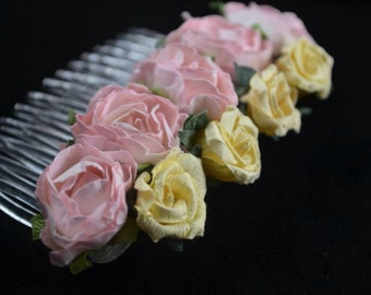 Pink and yellow paper rose hair comb