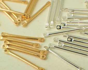 25 Straight Bar Links - 22mm x 2mm - Silver Plated or Gold Plated - 100% Guarantee